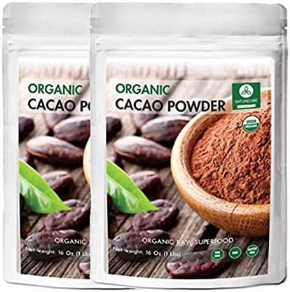 Naturevibe Botanicals Organic Cacao Powder, 2 lbs (2 unit of Pack of 1 lbs) | Non-GMO and Gluten Free | Theobroma Cacao | Antioxidant
