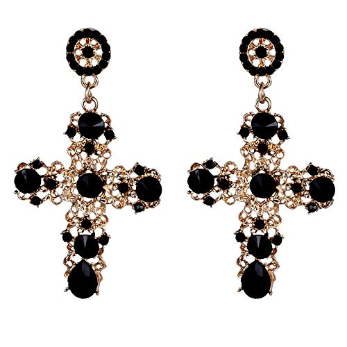 Palace Hollow Carving Pattern Color Crystal Big Cross Baroque Dangle Earrings for Women Girls Party Gifts (Black)
