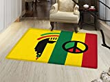 smallbeefly Rasta Floor Mat for kids Iconic Barret Reggae and Jamaican Music Culture with Peace Symbol and Borders Door Mat Increase Red Green Yellow