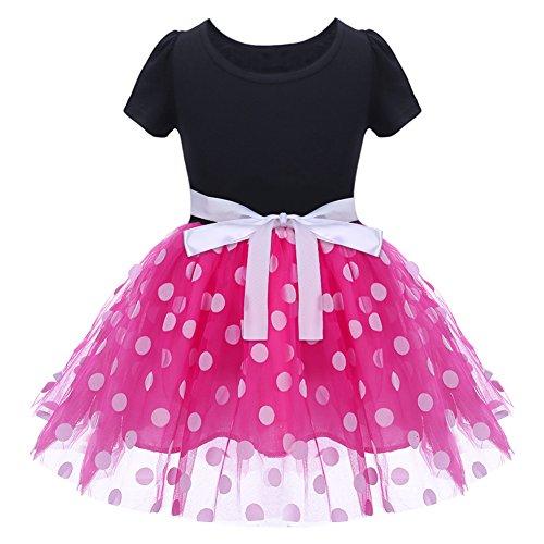 IBTOM CASTLE Baby Girls' Polka Dots Leotard Christmas Birthday Fancy Dance Costume Cosplay Tutu Dress Up with 3D Ears Headband Pink 3-4 Years from IBTOM CASTLE