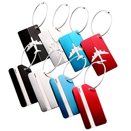 Rigid Luggage Tag (Luggage Tags,Aluminum Luggage Tags Travel ID Labels Easy to track your own package. 8pcs of pack (Silvery Red Blue and Black of two Model))