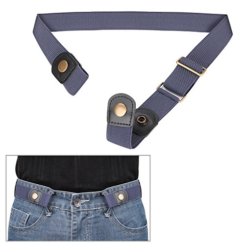 No Buckle Invisible Elastic Belt for Men/Women Blue, Fits waist 24-35in