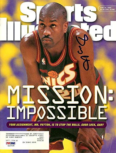 Gary Payton Autographed Sports Illustrated Magazine Seattle Sonics ITP #4A37435 PSA/DNA Certified Autographed NBA Magazines