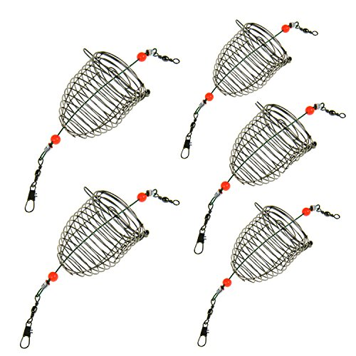 thkfish 5Pcs Stainless Steel Wire Fishing Lure Cage Small Bait Cage Fishing Trap Round Bottom Basket Feeder Holder Fishing Tackle
