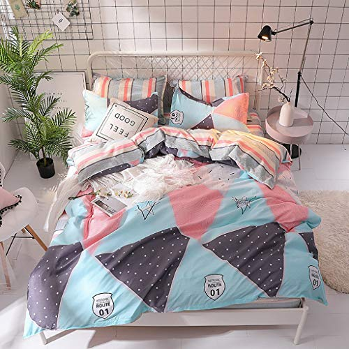 Abojoy 2PC Duvet Cover Set Inspired Colorful Geometric Patchwork Diamond Pattern Triangle Print Kids Comforter Cover Set for Girls Teens Luxury Soft Reversible Bedding Collection (Twin, Style5)