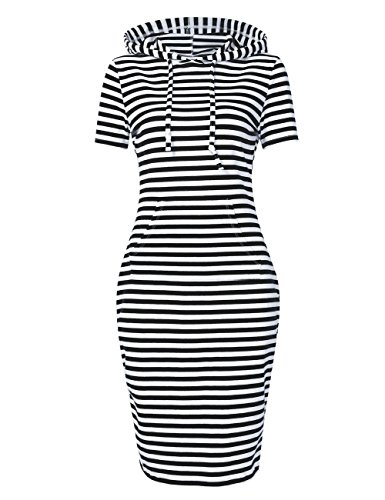 MISSKY Women's Short Sleeve Pullover Stripe Keen Length Slim Hoodie Dress with Kangaroo Pocket for Causal for Spring Autumn Summer, Black White, Large