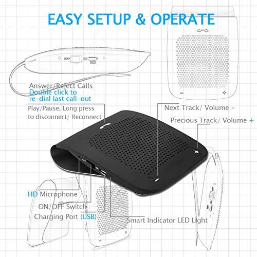 Slopehill in-car Bluetooth Speakerphone, Hands-Free Visor Bluetooth Speaker, Automatic Cellphone Connection for Safe Drive Talking (Black, Back Clip Design) by slopehill (Image #5)