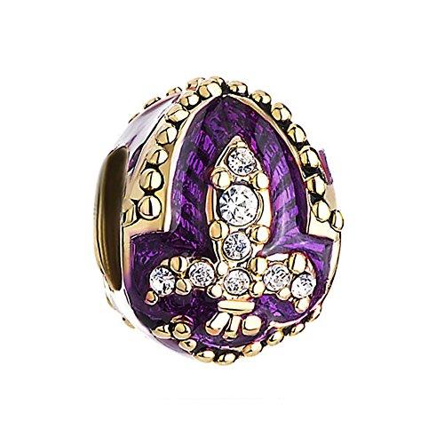 CharmSStory Faberge Egg Beads Charms Purple Fleur De Lis Synthetic Crystal for Bracelets
