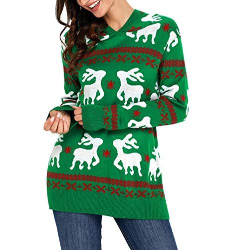 KCatsy Mujer Pullover Jersey Top de Punto Capucha de Renos Navidad ...