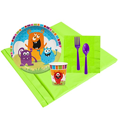 Monsters Childrens Birthday Party Supplies - Tableware Party Pack (8)