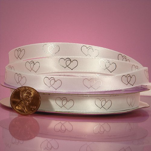 (Silk Satin Crossed Hearts Printed Ribbon 3/8