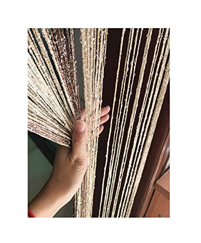 Eyotool 1x2 M Door String Curtain Rare Flat Thread Fringe Window Panel Room Divider Cute Strip Tassel for Wedding Coffee House Restaurant Parts (Coffee & Champagne)