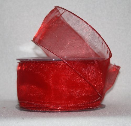 20m x 50mm chiffon organza wired ribbon **red** by floral supplies