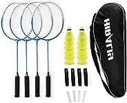 HIRALIY Badminton Rackets Set of 4 for Outdoor Backyard Games, Including 4 Rackets, 12 Nylon Shuttlecocks, 4 R