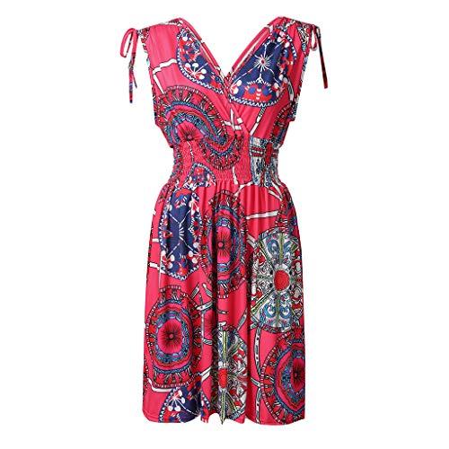 WILLBE Sleeveless V-Neck Dress Halter Short Sun Dress Womens Halter Boho Sexy Floral High Waist Beach Vacation Dress Hot Pink (Best Rated Hot Tubs 2019)