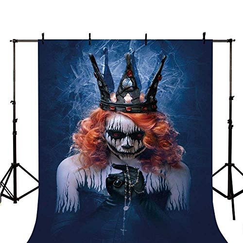 Queen Stylish Backdrop,Queen of Death Scary Body Art Halloween Evil Face Bizarre Make Up Zombie for Photography,39.3