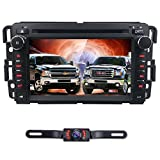 Android 7.1 Car Stereo DVD Player for GMC Chevy Silverado 1500 2012 GMC Sierra 2011 2010 7 inch Quad Core Double Din in Dash Touchscreen FM/AM Radio Receiver Navigation Bluetooth with Backup Camera