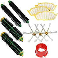 MZY LLC 2 Bristle Brushes & 2 Flexible Beater Brushes & 3 Side Brushes 6-Armed & 3 Filters & Brush Cleaning Tool Pack Mega Kit for iRobot Roomba 500 Series Roomba 510, 530, 535, 540, 560, 570, 580, 610 Vacuum Cleaning Robots all Green, Red, Black cleaning head