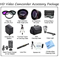 Ultimate HD Video Accessory Package For The Sony VX2100, DSR-PD150, PD170 Mini DV Camcorders. Includes 3 Piece Filter Kit, Wide Angle Lens, Telephoto Lens, 4 Piece Macro Close Up Set, Soft Carrying Case, Full Size Tripod, Sony NP-F970 Replacement Battery, Rapid Travel Charger, Video Light, Starters Kit, Lens Pen & CS Microfiber Cleaning Cloth