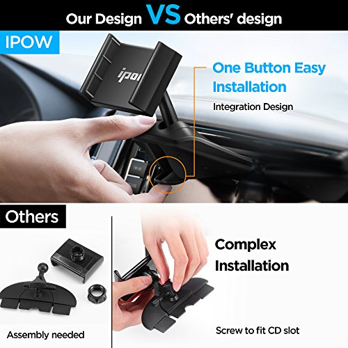IPOW One Button Installation CD Slot Phone Holder, IPOW Car Mount Cradle Stand for iPhone X 8 8P 7 7P SE 6s 6 6P 5S, Galaxy S8 S7 S6 S5 S4, Google, LG, Huawei, Nexus by IPOW (Image #1)
