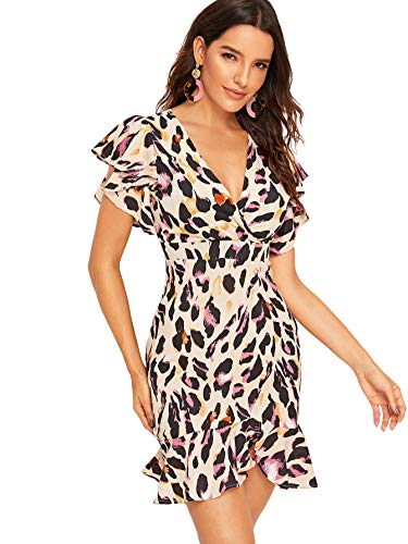 Floerns Women's Leopard Print V Neck Ruffle Surplice Front Dress Pink L]()
