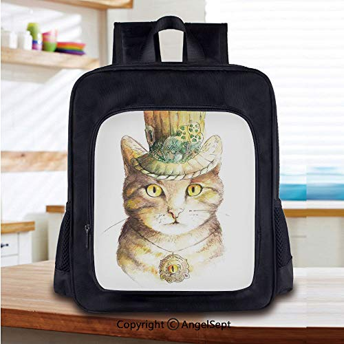 14 Inch Backpack,Spiritual Cat with Hat and Occult Eye Collar Grunge Celtic Trick Theme Perfect for Primary, Preschool, Daycare, and Day Trips,Yellow Grey ()