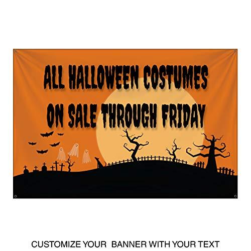 HALF PRICE BANNERS | Custom | Halloween Moon Vinyl Banner | Indoor/Outdoor | 4'x6' Orange | Free Bungees & Zip Ties | Easy Hang Advertising Sign | Business Holiday | -