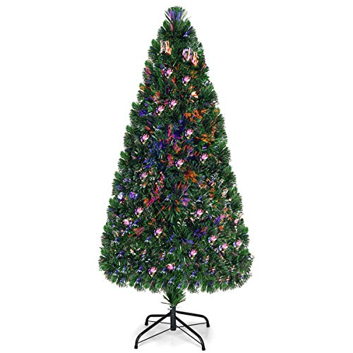 Goplus Artificial PVC Christmas Tree Pre-Lit Fiber Optic Tree with Metal Stand (6 FT)