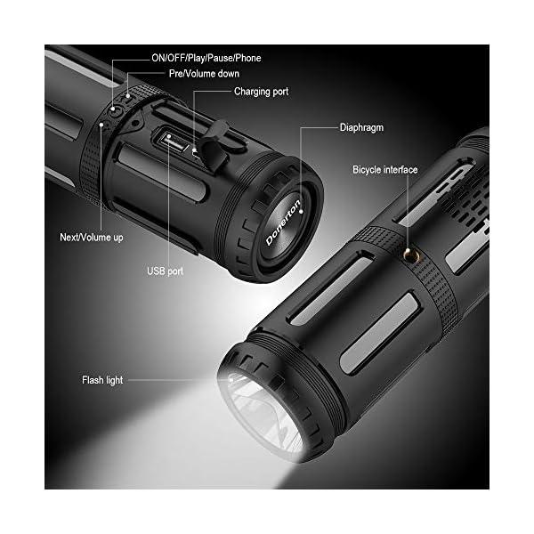 Enceinte Bluetooth Portable, avec Lampe Torche LED, 5200mAh Powerbank, 30H en Lecture, Basses Puissantes, IPX67 Waterproof, Mains Libres Téléphone, Enceintes Bluetooth sans Fil pour Camping, Cyclisme 4