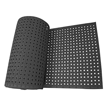 Image of Exercise Mats Rubber-Cal 03_183_WBK_09'Paw-Grip' 100% Nitrile Non-Slip Rubber Matting, 3/8' x 34' x 108', Black