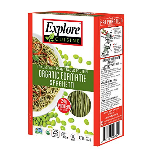 Edamame Bean - Explore Cuisine Organic Edamame Spaghetti (2 Pack) - 8 oz - High Protein, Gluten Free Pasta, Easy to Make - USDA Certified Organic, Vegan, Kosher, Non GMO - 8 Total Servings