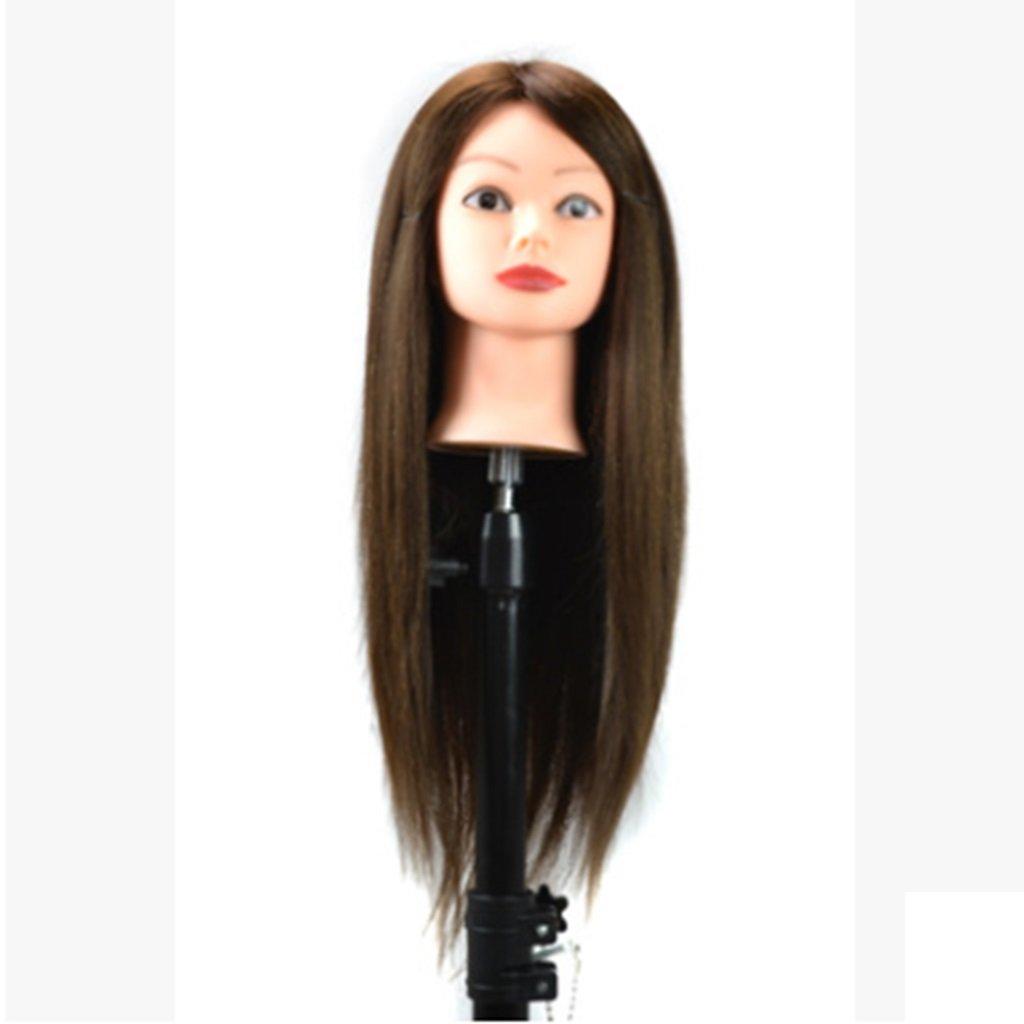 WAVENI La Cabeza de la Peluca de 60 cm, Incluido el Soporte, se Puede teñir y el Pelo de la Discoteca y del Trenzado con una Peluca de Maquillaje (Color : Brown)