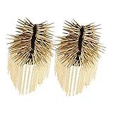Baosity 1 Pair Gothic Tassel Epaulette Shoulder Board Mark Brooches Fancy Dress Epaulette - Gold