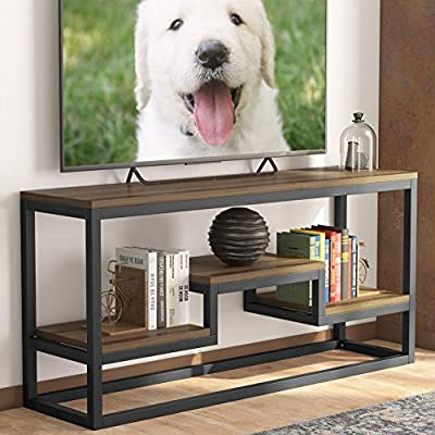 """LITTLE TREE TV Stand, IndustrialRusticMedia Stand for 60"""" TV, Large 3-Tier Entertainment Center with Shelves, Media Console Table for Living Room, Brown 59"""" (Dark Walnut)"""