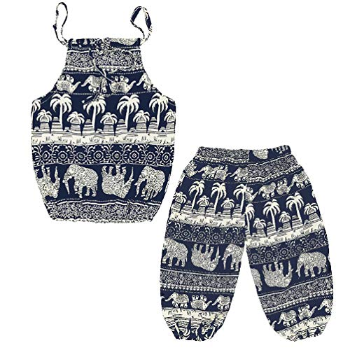 Baby Girls Boho Elephant Tops Harem Pants 2 Piece Outfits Coconut Tree 100
