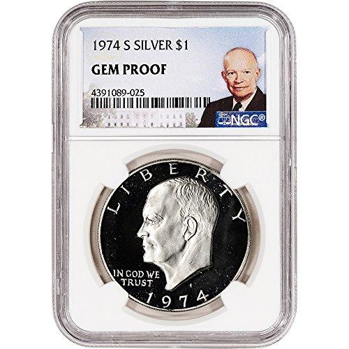 - 1974 S US Eisenhower Silver Dollar Proof Ike Large Label $1 Gem Proof NGC