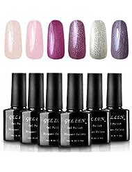Gellen Shimmering Sheer Vibrant UV LED Gel Nail Polish Set - 6 Colors 10ml Each