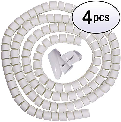 GOWOS (4 Pack) Spiral Cable Zip Wrap White 30mm x 1.5m