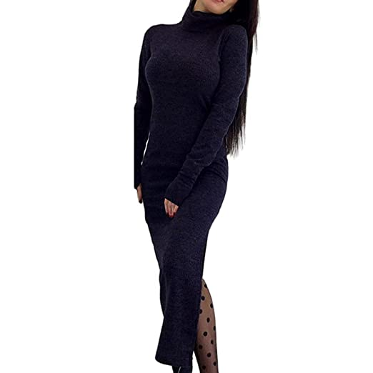0b3f48a16e4 Amazon.com  Women Casual Long Sleeve Sweater Dress Turtleneck Solid ...