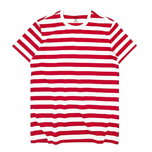 Zengjo Essential Stripes T-Shirts Comfort Short-Sleeve Crew-Neck Striped Tee Top (L, Red&White WD)
