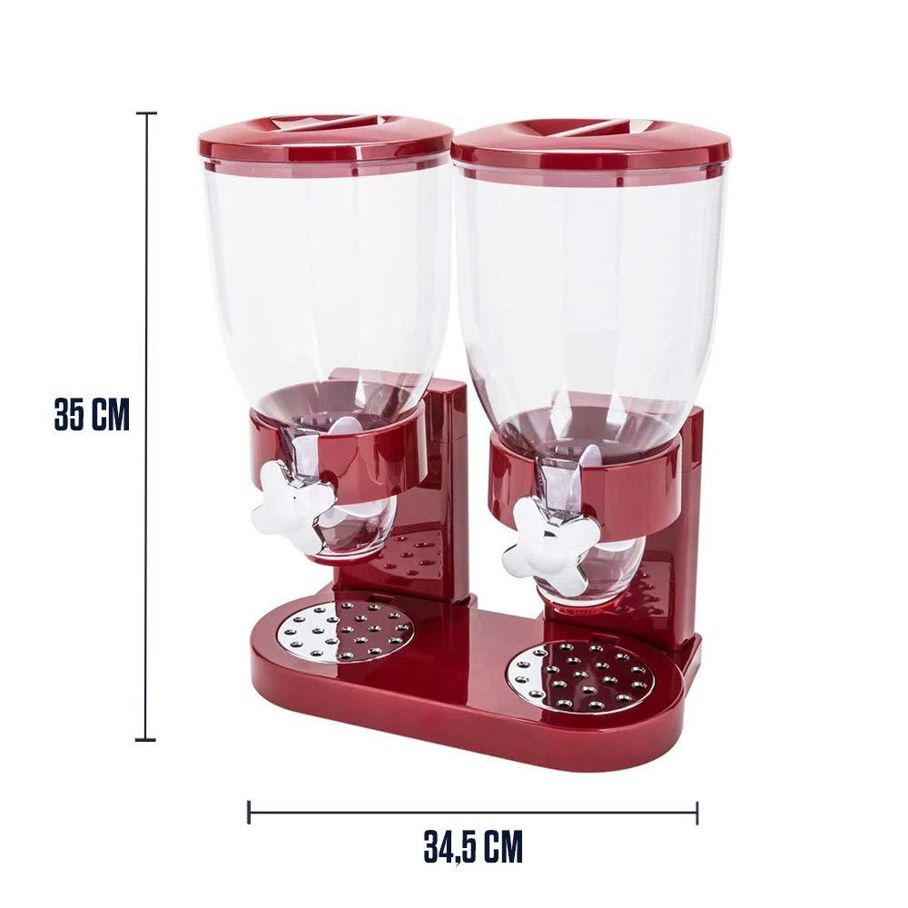 Dispensador de copos de ma/íz Rojo mikamax 500 gramos Accesorios de desayuno Con 2 recipientes Recipientes de cereales