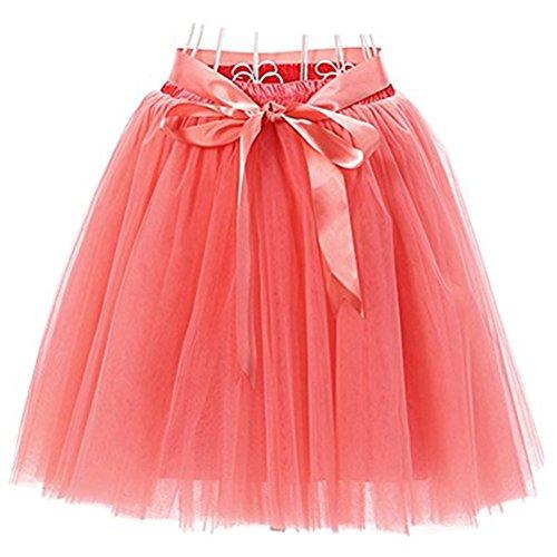 Oudan Jupe Ballet Tutu en Tulle Jupe Courte Style Annes 50 Couleurs Varies pour Femmes Filles avec N?ud  Deux Boucles Pastque Rouge