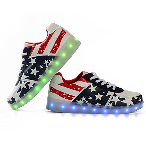 Luci Luce Suola Tennis Adulto USB Sneakers Red Bright Scarpe 8 Colori Scarpe Trainners Shoes con LED nella Unisex DoGeek Luminosi con Lampeggiante fvgIIq