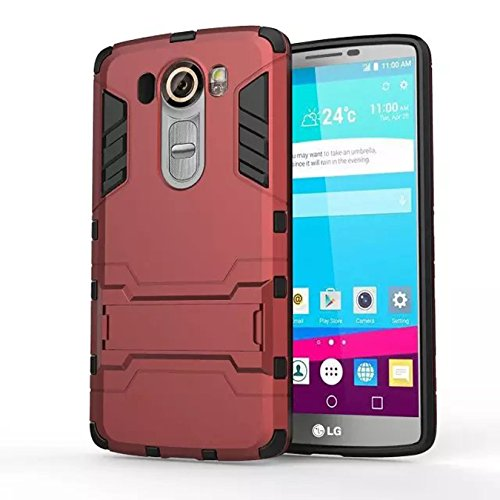 LG Nexus 5X Funda, Litastore Combo Híbrido Resistente los Golpes Delgada Armadura Defensor TPU Parachoques Soporte para LG Nexus 5X - Rojo Rojo