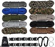 MONOBIN Paracord Combo Kits - 550 Type III Parachute Cord - Bracelet Crafting Kits, Survival Rope Making lanya