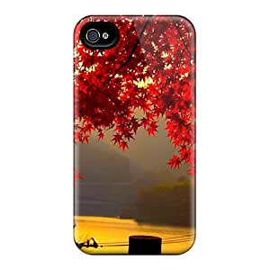 Durable Red Maple Leafs Back Case/cover For Iphone 4/4s