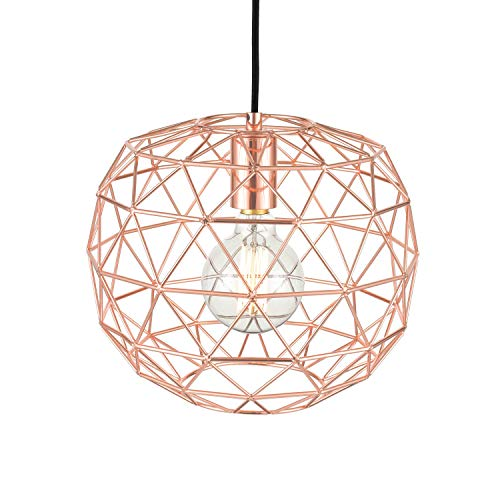 Light Society Caffrey Geometric Pendant Light, Rose Gold, Modern Industrial Lighting Fixture LS-C135-RG