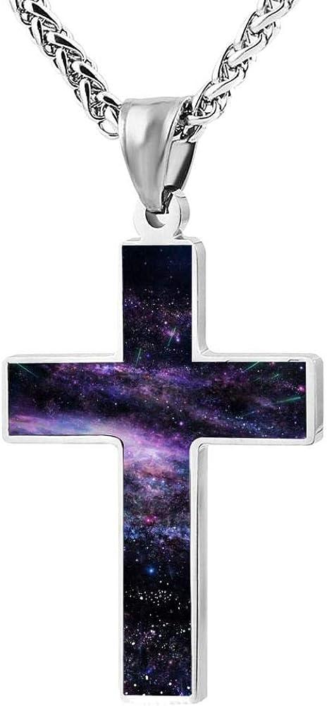 Quensk Beautiful Sky Cross Necklace Christ Necklace Pendant Cross Prayer Fashion Accessories for Men Women