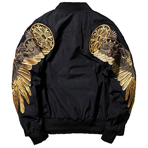 Crissiste Coat Black Angel Wing Embroidery Bomber Jacket Men Streetwear Warm Jackets Black S