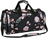 MOSISO Canvas Fabric Foldable Travel Luggage Multifunctional Duffels Lightweight Peony Gym Bags for Men/Women